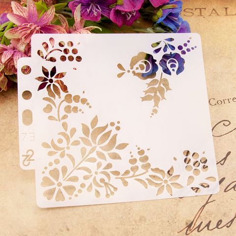Flower Corner Layering Stencils Painting Template