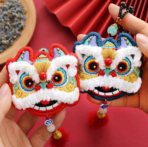 Chinese Lion  Incense Bag Pendant DIY Hand Embroidery Kit