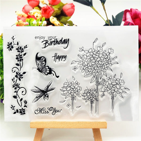 Butterfly Flower Stamps
