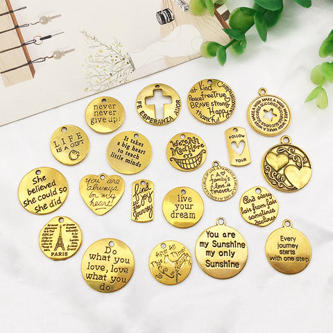 20Pcs English Letter Tags Pendants