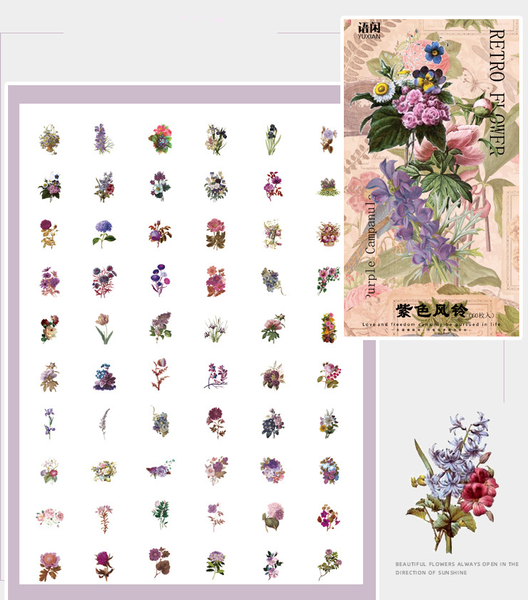 60PCS Flower Shop Series Sticker Bag