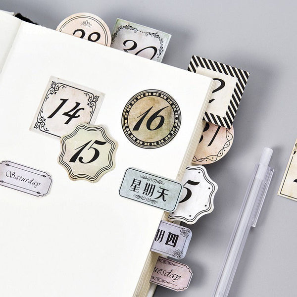 45PCS Retro Number Date Diary Stickers