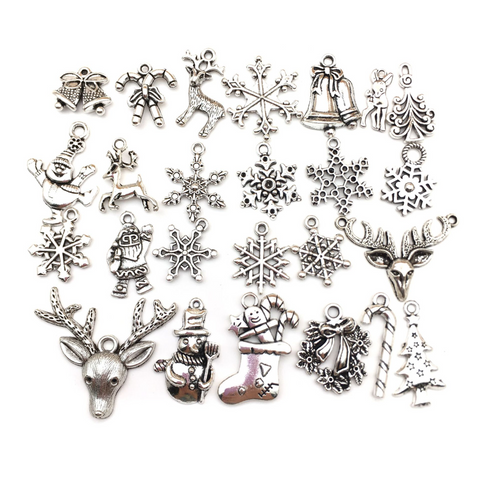 50Pcs Christmas Silver Accessories Pendants