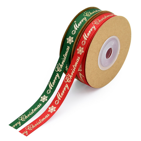 Christmas Foil Stamped Letters Ribbon