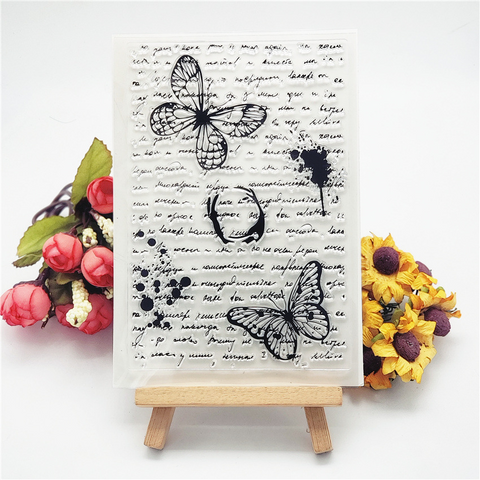 Butterfly Text Background Stamp