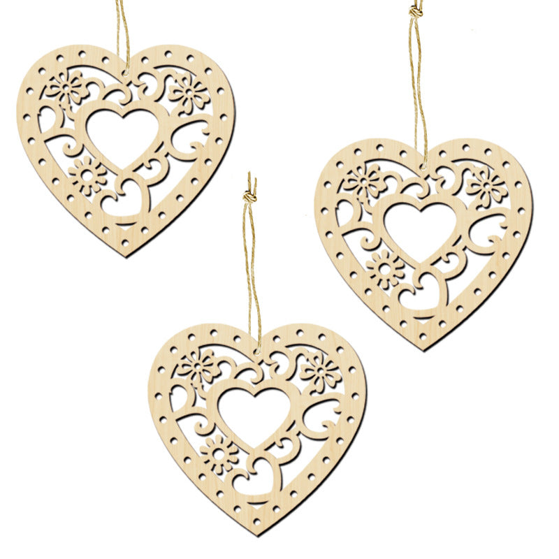 10Pcs Carved Love Wood Valentine's Day Pendants