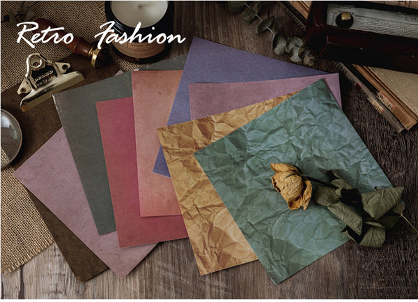 8PCS Distressed Retro Background Paper