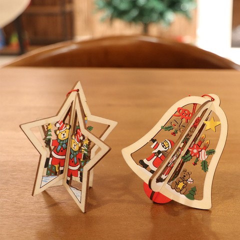 3D Christmas Wooden Carving Pendant