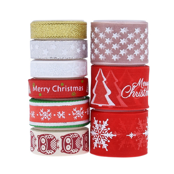 Decorative Christmas Print Bibbon Set