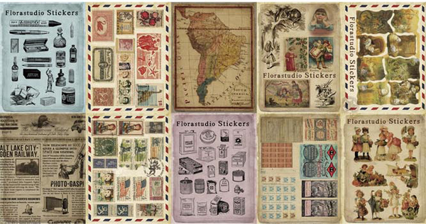 10PCS Retro Map Stamp Stickers Paper