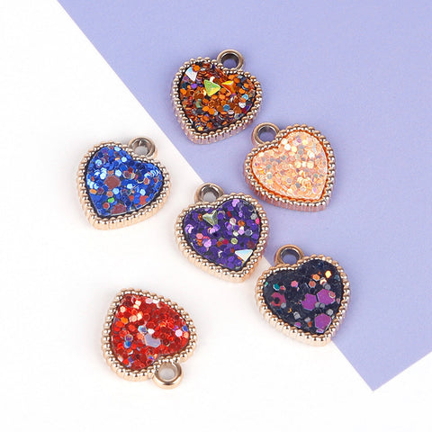 6pcs Love Alloy Pendants