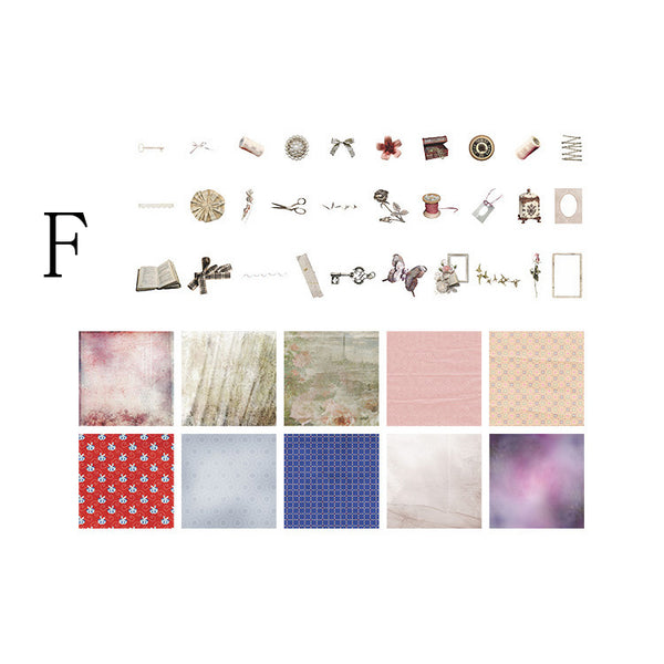 70PCS European Classical Mixed Paper Scrapbook Material Package