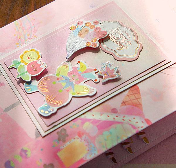 Limited Hot Stamping 3D Birthday Envelope Greeting Card Set