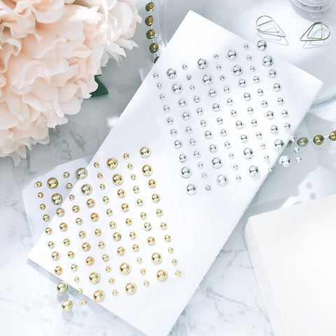 80pcs Half Round Gold and Silver Pearl Sticker