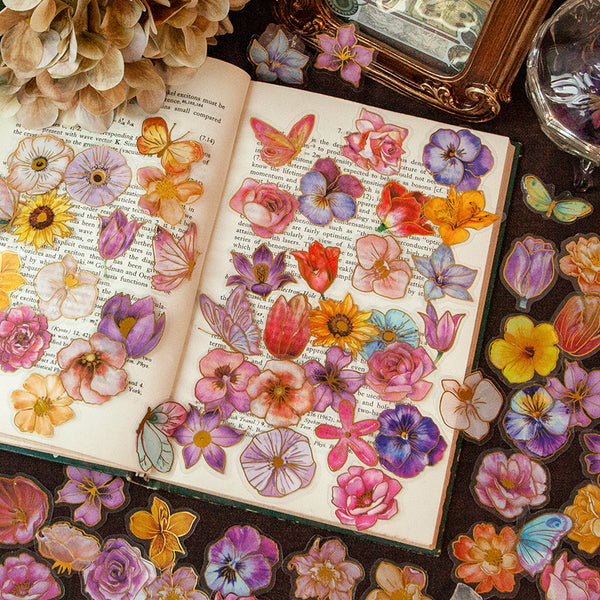 30PCS Vintage Floral  DIY Scrapbook Stickers