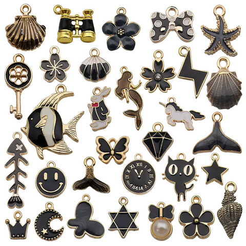 31Pcs Black Series Alloy Drip Pendants