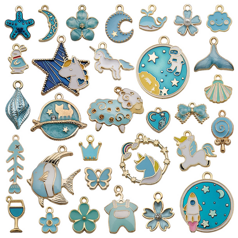31Pcs Blue Series Alloy Drip Pendants