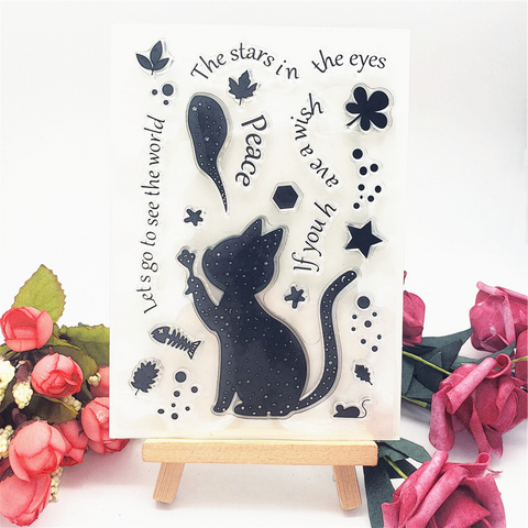 Silhouette Cat Stamps
