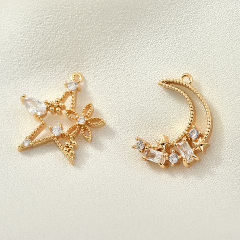 Star & Moon Zircon Alloy Pendant Accessories