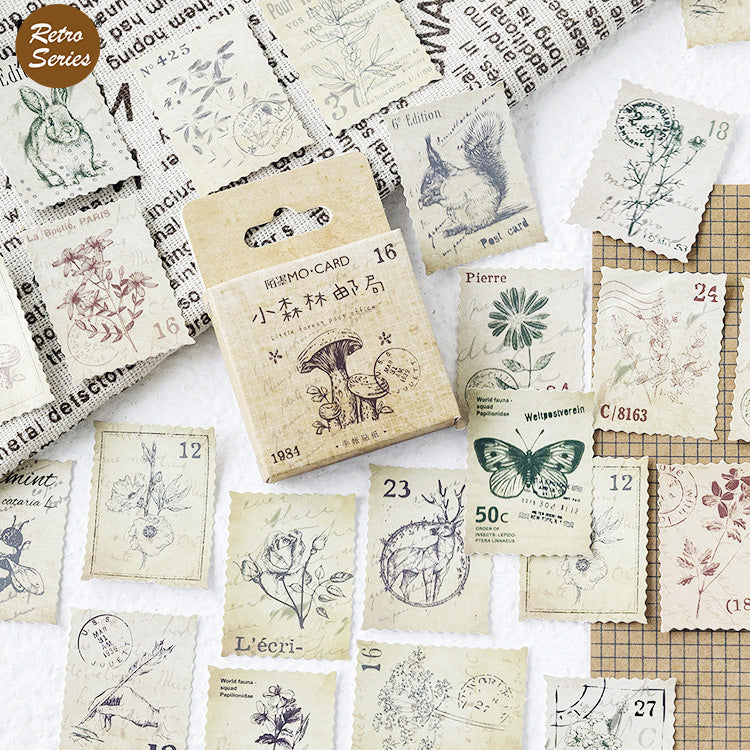 46PCS Vintage Stamp Journal Stickers
