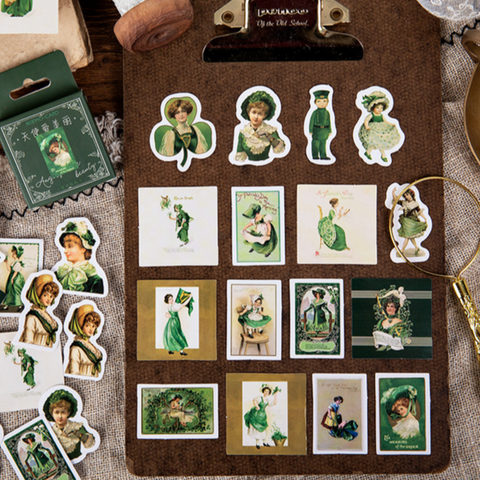 46PCS Green Angel Stickers