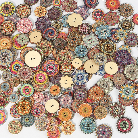 50pcs Wooden Retro Pattern Series Buttons