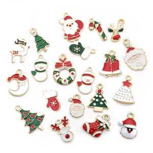 20-50PCS Christmas Dripping Oil Alloy Accessories Pendants