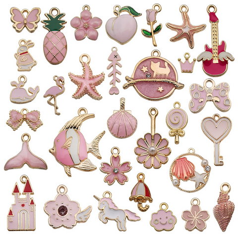 31Pcs Pink Series Alloy Drip Pendants