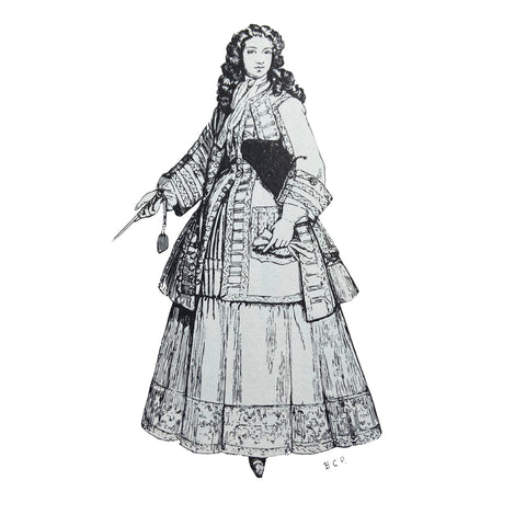 Riding habit coat waistcoat and petticoat with wig and tricorne hat under arm from 1715 illustration by Barbara Phillipson