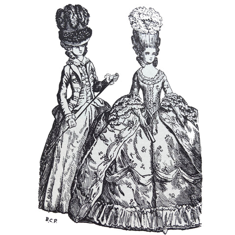Riding habit jacket waistcoat and petticoat with beehive hat over high coiffure on left 1778 full dress on right illustration by Barbara Phillipson