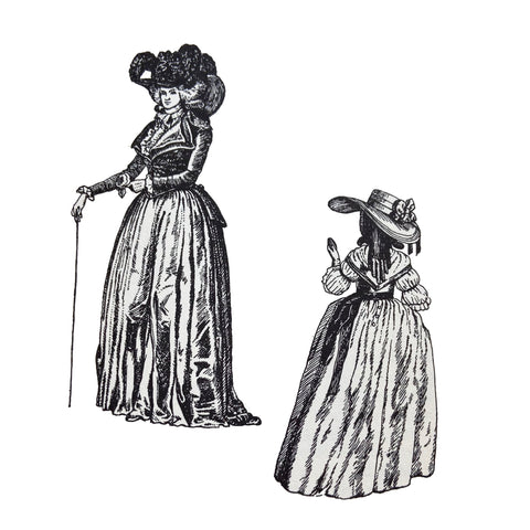 Riding habit with ruffled chemise-front and lapelled waistcoat 1785 on left and back view of gown from 1786 on left illustration by Barbara Philipson