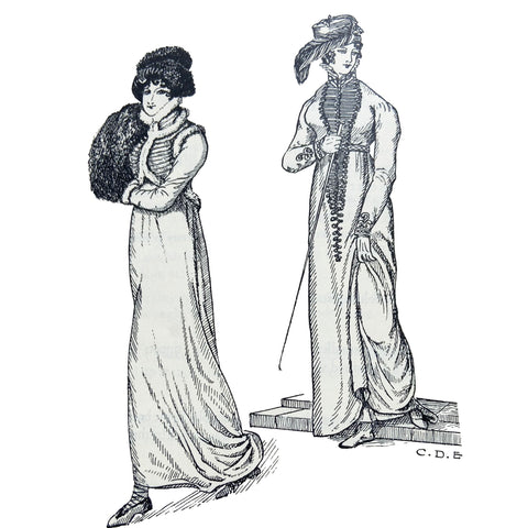 Walking dress from 1813 on left and riding dress with military trim worn with black beaver riding hat from 1812 on right illustration by Cecil Everitt