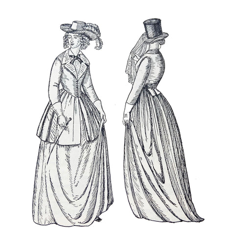 Two styles of riding costume the first wearing a habit with a polka skirt over the riding skirt from 1843 illustration by Phillis Cunnington