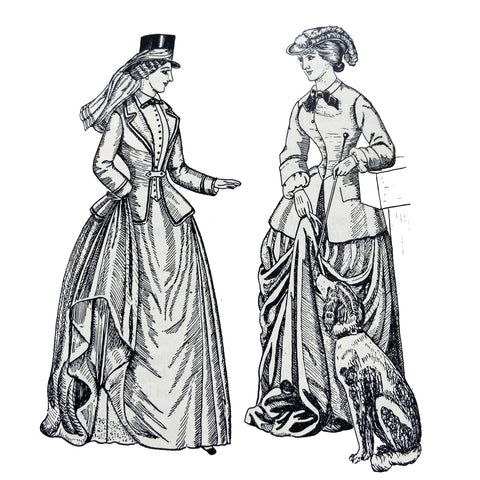 Riding habit from 1852 on left and 1859 on right illustration by Phillis Cunnington