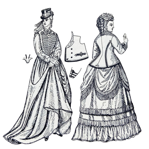 Riding habit from 1870 on left and D-B jacket with walking dress on right from 1870 illustration by Phillis Cunnington