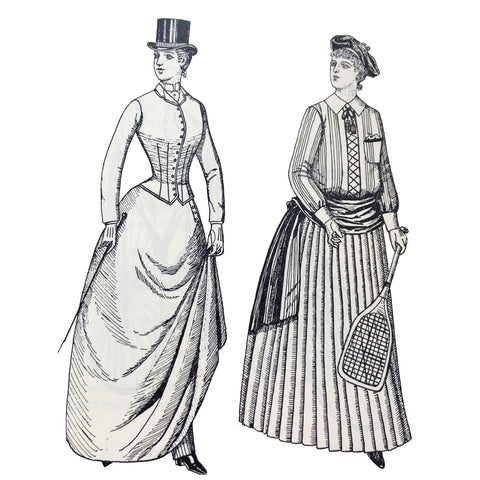 Riding habit and tennis costume from 1888 illustration by Phillis Cunnington