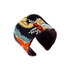 Birds of paradise upcycled obi belt handcrafted cuff