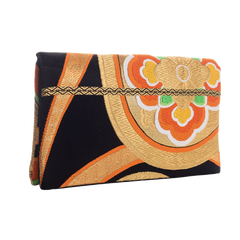 Butterflies and flowers upcycled Obi belt envelope clutch bag