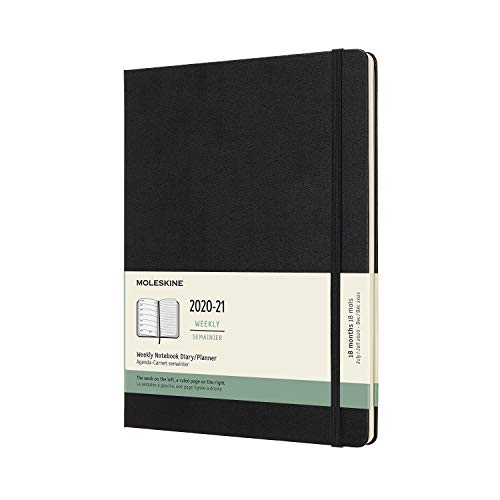 Moleskine - Black 18-Month Weekly Planner/Diary, 2020/2021 X-Large - shopcurious