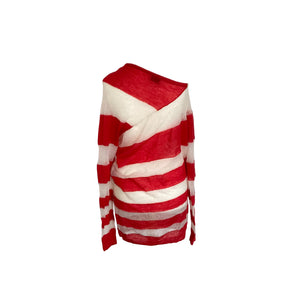 Acne Studios Red and White Striped Sheer Knitted Jumper - shopcurious