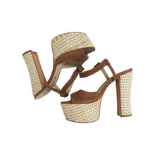 Load image into Gallery viewer, 1970s Style Suede and Raffia Platform Sandal - ShopCurious