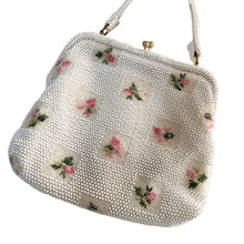 Load image into Gallery viewer, Lemured Petite-Bead Pink and Cream Beaded Flower Bag and Mirror Purse - shopcurious