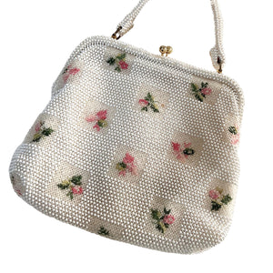 Lemured Petite-Bead Pink and Cream Beaded Flower Bag and Mirror Purse - shopcurious