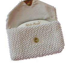 Load image into Gallery viewer, Lemured Petite-Bead Cream Beaded Bag and Mirror Purse - shopcurious