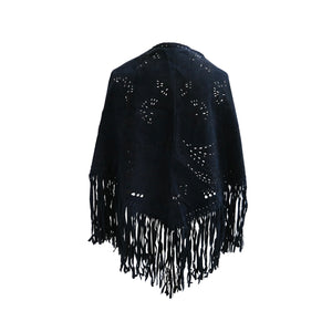 Blue Suede Fringed Vintage Cape with Filigree Cutout Design - shopcurious