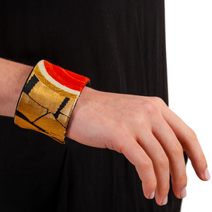 Everlasting Bamboo: Upcycled Obi Belt Cuff - shopcurious
