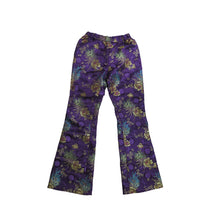 Load image into Gallery viewer, Purple Brocade Flared Trousers with Elasticated Waist - shopcurious