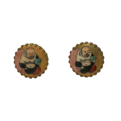 Cufflinks – Lucky Buddha, Vintage Hand Painted Ceramic - shopcurious