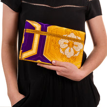 Load image into Gallery viewer, Complementary Harmony: Upcycled Obi Envelope Clutch/Shoulder Bag - shopxcurious