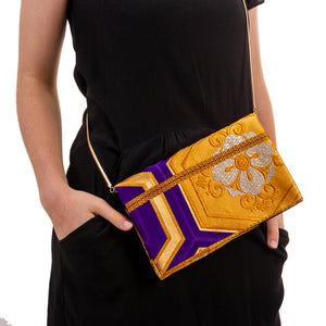 Complementary Harmony: Upcycled Obi Envelope Clutch/Shoulder Bag - shopxcurious